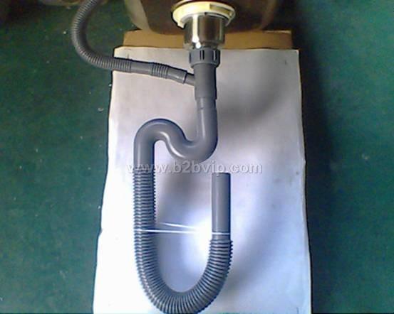 供应不锈钢水槽下水配件单头S形防臭波纹管46