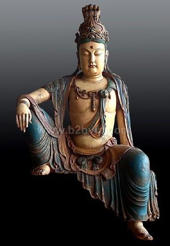 彩绘仿古观音木雕佛像