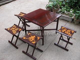福寿双全红木马扎桌