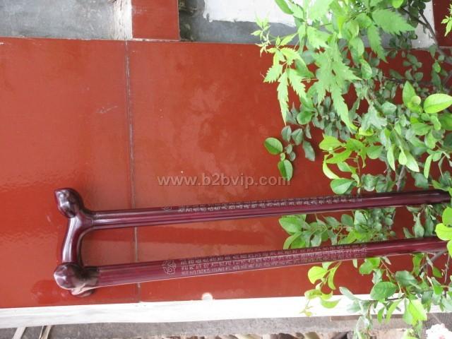红木嵌银寿桃拐杖